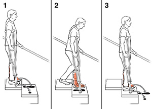 3 steps in using crutches to go downstairs.