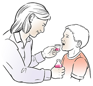 Woman giving liquid medication to boy.