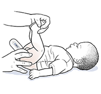 Hands using digital rectal thermometer to take baby's temperature.