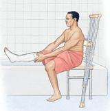 Man with leg cast sitting by the bathtub, protecting the cast from getting wet.