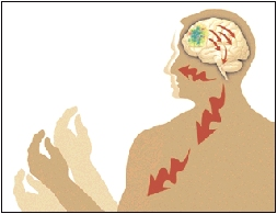 Outline of man showing brain sending disorganized signals to body.