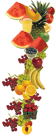 Watermelon, cantaloupe, apples, oranges, blueberries, grapes, bananas, strawberries, peaches, pineapple.